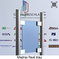 Glasart Madras Pave blau - Klarglas blau durchgefaerbt, einseitig geaetzt