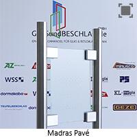 Glasart Madras Pave weiss - Klarglas einseitig geaetzt