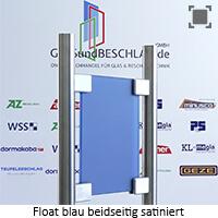 Glasart Klarglas bzw. Floatglas blau durchgefaerbt - beidseitig satiniert