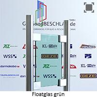 Glasart Klarglas bzw. Floatglas gruen durchgefaerbt