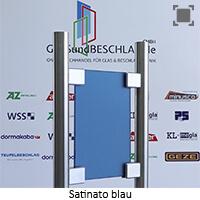 Glasart Satinato blau durchgefaerbt - einseitig satiniert