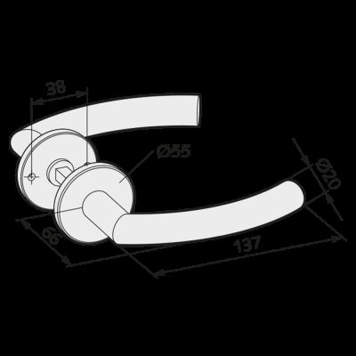 WSS Tuerdruecker mit Rosetten - gebogene Form
