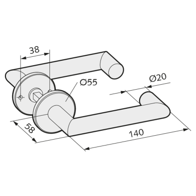 WSS Tuerdruecker mit Rosetten - Rechteckform