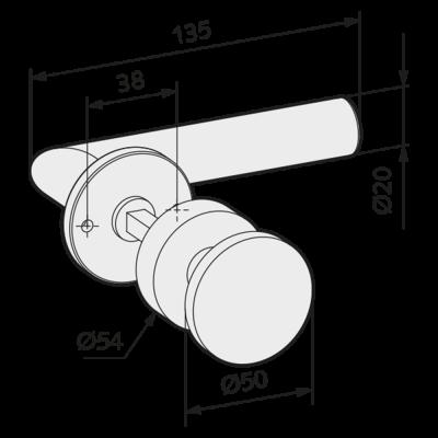 WSS Tuerdruecker-Wechselgarnitur mit Rosetten Gehrungsform