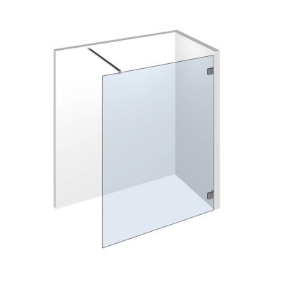 Walk In Dusche als Glaselement zur Befestigung an die Wand mit Pontere Winkelverbinder und Querung mit einer Stabilisationsstange