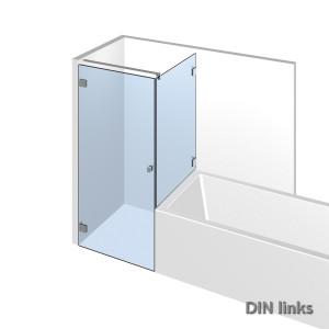 Eckdusche mit Badewannenaufsatz im flachenbuendigen Duschsystem Nivello+;DIN links