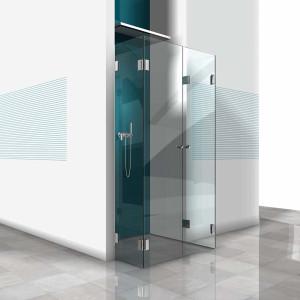 Glasdusche Farfalla 3-402, 2flg. Duschtür zwischen 2 Festteilen 90° an einer Wand