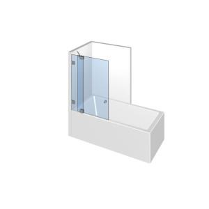 Glasdusche Fluture 6-603, 1flg. Duschtür mit Festeil auf/an der Badewanne