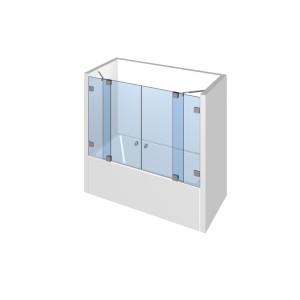 Glasdusche Fluture 6-616, 2flg. Duschtür zwischen 2 Festteilen auf/an der Badewanne zwischen 2 Wänden