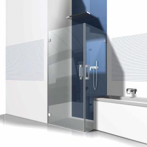 Glasdusche Flamea 7-611, 2 Duschtüren über Eck, neben der Badewanne