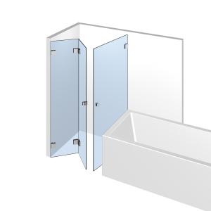 Glasdusche Flinter 8-609, 2flg. Falt-Duschtür und seitlicher Tür neben der Badewanne