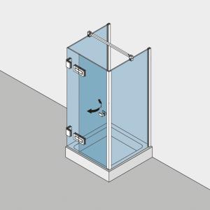 Echtglasdusche in U-Form BF 112 Typ 233W - Winkelbefestigung der Festteile wandseitig
