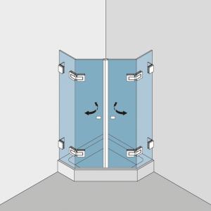 5Echdusche aus Echtglas im System BF 112 Typ 250 P - Profilbefestigung der Festteile an der Wand