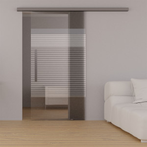 Glasschiebetuer block stripe mit EVOLINE TOP Glasschiebetuerbeschlag