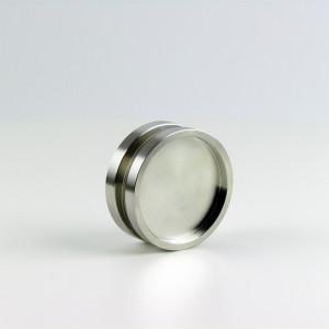 Griffmuschelpaar aus Edelstahl fuer 8 und 10 mm Glas aus Edelstahl, Durchmesser 65 mm