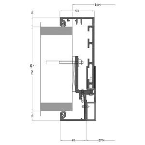 Alu Durchgangs-Umfassungszarge mit Falzausbildung, verblendet mit Rechteckrohr; zur Montage mit Leibungsfixierungsankern