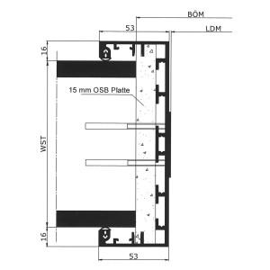 Alu Durchgangs-Umfassungszarge in Standardausfuehrung ohne Falzbereich, mit OSB-Platte und Verblendung im Stoßbereich - bei Wanddicken bis 149 mm