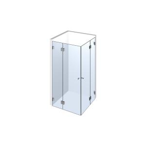 Glasdusche Farfalla 3-209, 2flg. Duschtür an Festteilen 90° in eine Ecke