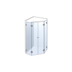 Glasdusche Pontere 1-303, 2flg. Duschtür zwischen 2 Festteilen im Eck