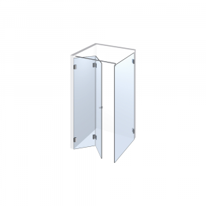 Glasdusche Farfalla 3-215, 2flg. Falt-Duschtür mit 90° Festteil in eine Ecke