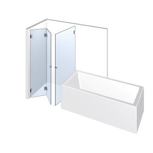 Glasdusche Farfalla 3-609, 2flg. Falt-Duschtür und seitlicher Tür neben der Badewanne