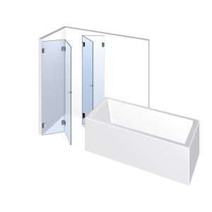 Glasdusche Farfalla 3-610, 2 Falt-Duschtüren je 2flg. neben der Badewanne
