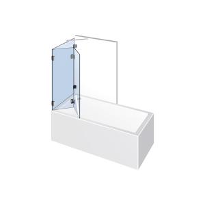 Glasdusche Farfalla 3-613, 2flg. Falt-Duschtür mit Festteil auf der Badewanne