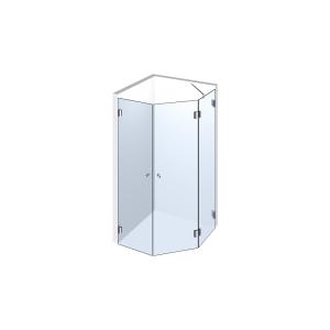 Glasdusche Farfalla 3-302, 2flg. Duschtür mit 90° Festteil im Eck