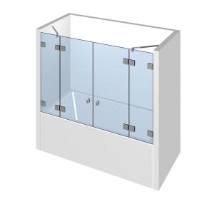Glasdusche Flamea 7-616, 2flg. Duschtür zwischen 2 Festteilen auf/an der Badewanne zwischen 2 Wänden