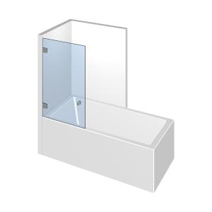 Glasdusche Flamea 7-601, 1flg. Duschtür auf/an der Badewanne