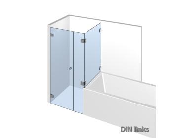 Eckdusche mit Wannenanschluß im System Nivello+ mit flaechenbuendiger Glasbefestigung;DIN links