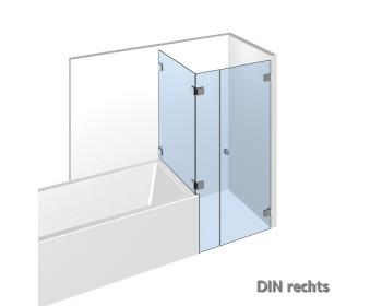 Eckdusche mit Wannenanschluß im System Nivello+ mit flaechenbuendiger Glasbefestigung;DIN rechts