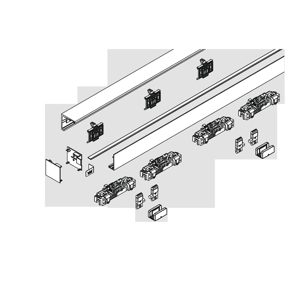 MUTO Comfort L Glasschiebetürbeschlag für Wandmontage ...