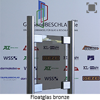 Glasart Klarglas bzw. Floatglas bronze durchgefaerbt