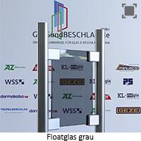Glasart Klarglas bzw. Floatglas grau durchgefaerbt