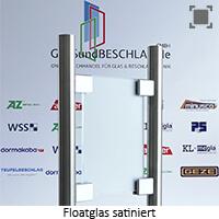 Glasart Klarglas bzw. Floatglas klar satiniert (einseitig) - mit normalem Gruenschimmer