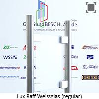 Glasart LuxRaff (R) Weissglas regular - klares Glas satiniert (einseitig) mit stark reduziertem Gruenschimmer, Spezialglas fuer Kuechen