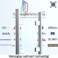 Glasart Weissglas - klares Glas satiniert (einseitig) mit stark reduziertem Gruenschimmer