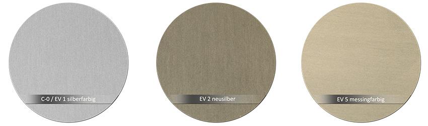 WSS Beschlagsfarbe C-0 silberfarbig EV2 neusilber EV5 messingfarbig
