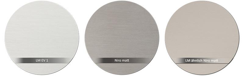 Dorma Beschlagsfarbe EV1 - Niro matt (Edelstahl) - LM ähnlich Niro matt