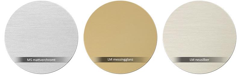 Dorma Beschlagsfarbe MS-mattverchromt_LM-messingglanz-LM-neusilber