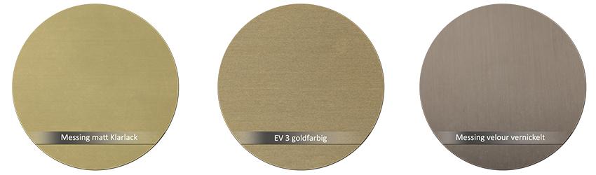 WSS Beschlagsfarbe Messing matt EV3 goldfarbig Messing velour vernickelt
