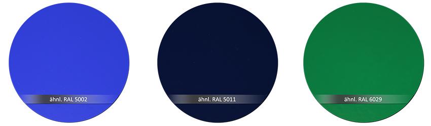 WSS Beschlagsfarben RAL 5002 RAL 5011 RAL 6029