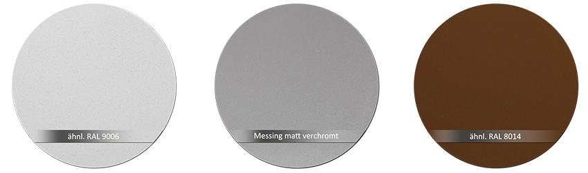 WSS Beschlagsfarben RAL9006 Messing matt verchromt RAL 8014