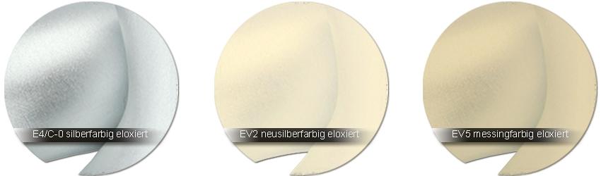 WSS Beschlagfarben C-0 EV1 silber - EV 2 neusilberfarbig (hellgold) - EV 5 messingfarbig