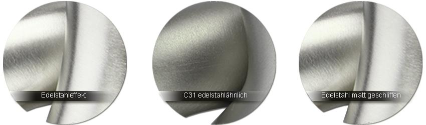 WSS Beschlagfarben Alu Edelstahleffekt - Alu C31 edelstahlaehnlich eloxiert - Edelstahl matt