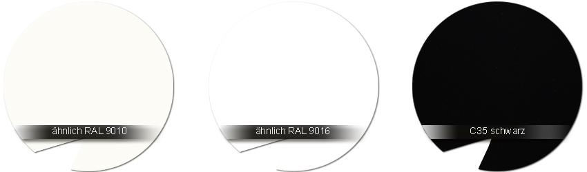WSS Beschlagfarben RAL 9010 weiss - RAL 9016 weiss - C35 schwarz