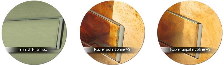 GRAL Beschlagfarben aehnlich niro matt | kupfer poliert | kupfer unpoliert - jeweils ohne Anlaufschutz