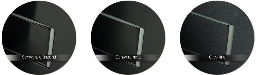 GRAL Beschlagfarben schwarz glaenzend | schwarz matt | grey line