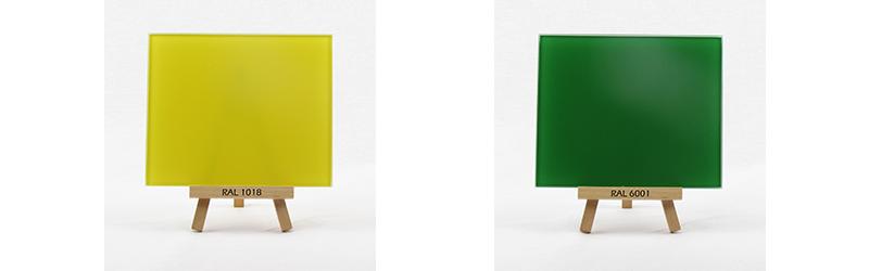 Klarglas rueckseitig lackiert in RAL 1018 und RAL 6001
